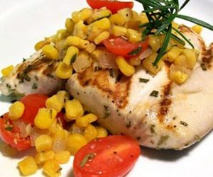 Rosemary Marlin with Roasted Corn and Tomato Relish
