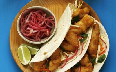 Beer Battered Fish Tacos with Spicy Slaw