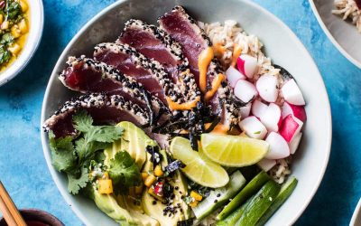 Spicy Brown Rice Seared Tuna Roll Bowl